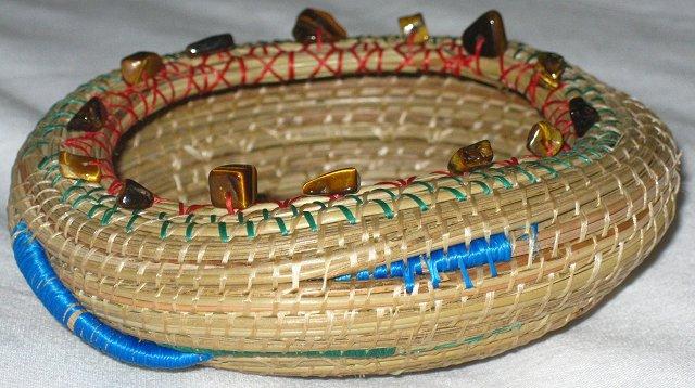 Gratiot Lake Basket Weaving Supplies : Asymmetrical basket bowl with wayward coil pine needle